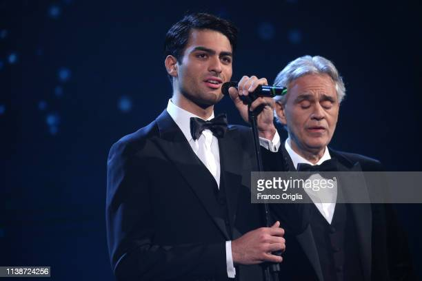 Matteo and Andrea Bocelli perform on the stage during the 64 David Di Donatello Award Ceremony on March 27 2019 in Rome Italy