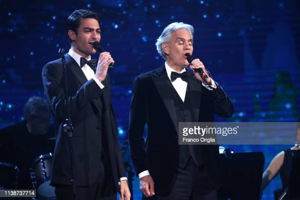 Matteo and Andrea Bocelli perform on the stage during the 64. David Di Donatello Award Ceremony on March 27, 2019 in Rome, Italy.