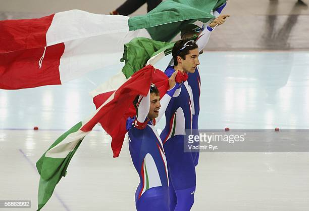 Matteo Anesi Enrico Fabris and Ippolito Sanfratello of Italy celebrate defeating Canada with a time of 34446 to win the gold medal in the speed...