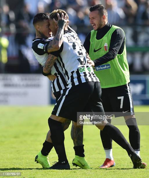 Matteo Ardemagni of Ascoli Calcio FC 1898 celebrates with teammate Amato Ciciretti after scoring opening goal during the match between Ascoli Calcio...