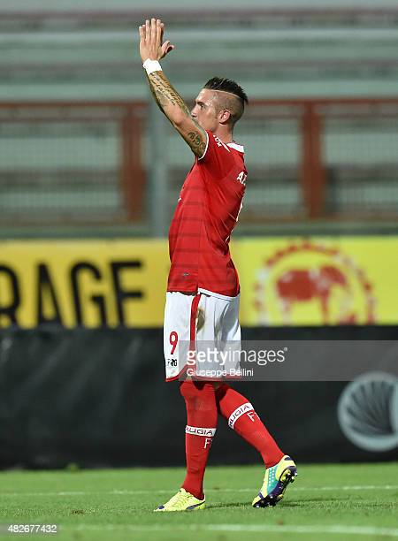 Matteo Ardemagni of Perugia celebrates after scoring the opening goal the preseason friendly match between AC Perugia and Carpi FC at Stadio Renato...