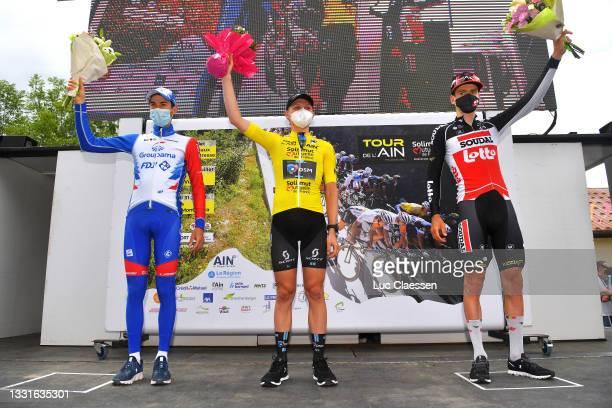Matteo Badilatti of Switzerland and Team Groupama - FDJ, Michael Storer of Australia and Team Team DSM Yellow Leader Jersey & Harm Vanhoucke of...