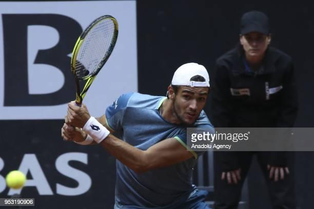 Matteo Berettini of Italia in action against Taro Daniel of Japan during the TEB BNP Paribas Istanbul Cup men's singles tennis match at the Garanti...