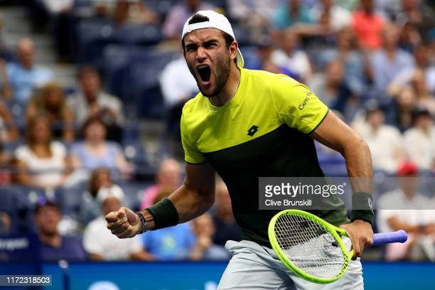 Matteo Berrettini of Italy celebrates a point during his Men's Singles quarterfinal match against Gael Monfils of France on day ten of the 2019 US...