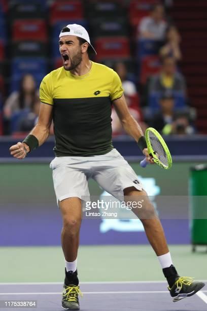 Matteo Berrettini of Italy celebrates after defeating Dominic Thiem of Austria during the Men's singles Quarterfinals match of 2019 Rolex Shanghai...
