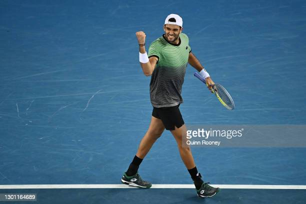 Matteo Berrettini of Italy celebrates after winning a point in his Men's Singles first round match against Kevin Anderson of South Africa during day...
