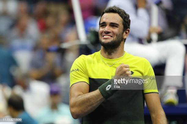 Matteo Berrettini of Italy celebrates after winning his Men's Singles quarterfinal match against Gael Monfils of France on day ten of the 2019 US...