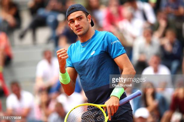 Matteo Berrettini of Italy celebrates in his mens singles first round match against Pablo Andujar of Spain during Day one of the 2019 French Open at...
