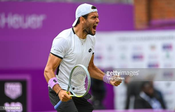 Matteo Berrettini of Italy celebrates match point during the finals against Cameron Norrie of Great Britain during Day 7 of The cinch Championships...