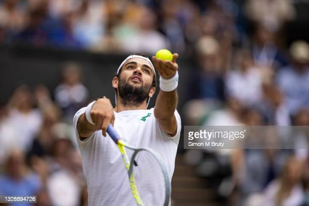 Matteo Berrettini of Italy in action during the Men's Singles Final against Novak Djokovic of Serbia at The Wimbledon Lawn Tennis Championship at the...