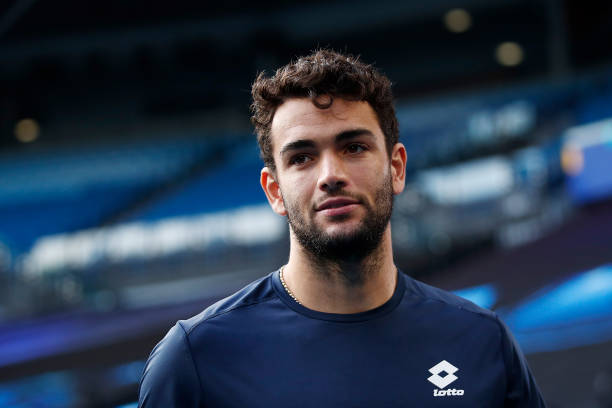 Matteo Berrettini of Italy is interviewed following his withdraw from his Men's Singles fourth round match against Stefanos Tsitsipas of Greece...