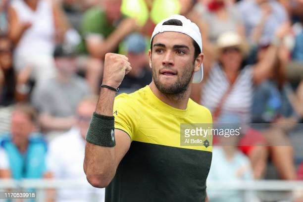 Matteo Berrettini of Italy reacts against Richard Gasquet of France on day two of the 2019 US Open at the USTA Billie Jean King National Tennis...