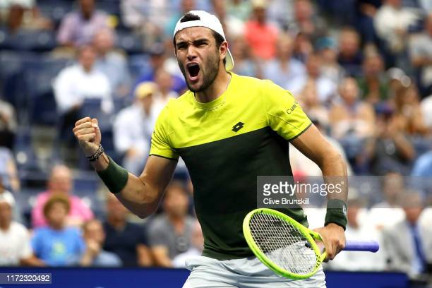 Matteo Berrettini of Italy reacts during his Men's Singles quarterfinal match against Gael Monfils of France on day ten of the 2019 US Open at the...