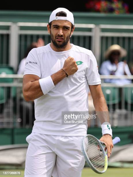 Matteo Berrettini of Italy reacts in his Men's Singles Fourth Round match against Ilya Ivashka of Belarus during Day Seven of The Championships -...
