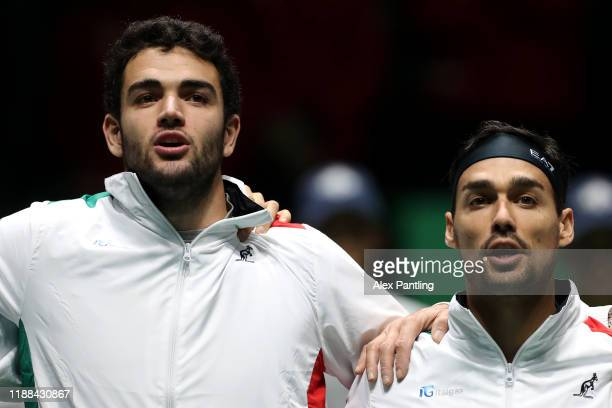 Matteo Berrettini of Italy sings the national anthem prior to Fabio Fognini of Italy playing against Vasek Pospisil of Canada during Day 1 of the...