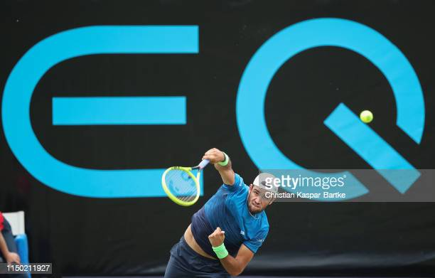 Matteo Berrettini serves to Felix Auger-Aliassime during the final match at Tennisclub Weissenhof on June 16, 2019 in Stuttgart, Germany.