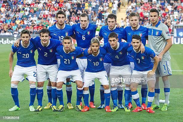 Matteo Bianchetti of Italy U21 Luca Caldirola of Italy U21 Vasco Regini of Italy U21 Ciro Immobile of Italy U21 goalkeeper Francesco Bardi of Italy...
