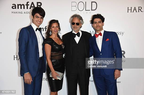 Matteo Bocelli actress Veronica Berti tenor/recording artist Andrea Bocelli and Amos Bocelli attend amfAR's 22nd Cinema Against AIDS Gala Presented...