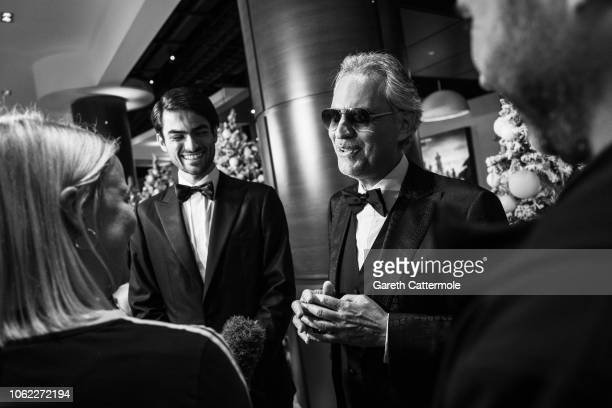 Matteo Bocelli and Andrea Bocelli attend the UK Premiere of Disney's 'The Nutcracker And The Four Realms' at Vue Westfield on November 01 2018 in...