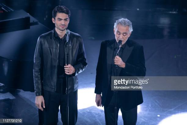 Matteo Bocelli and Andrea Bocelli during the evening of the 69th Sanremo Music Festival Sanremo February 5th 2019