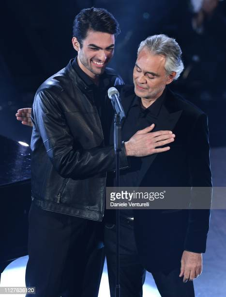 Matteo Bocelli and Andrea Bocelli perform on stage during the first night of the 69th Sanremo Music Festival at Teatro Ariston on February 05, 2019...