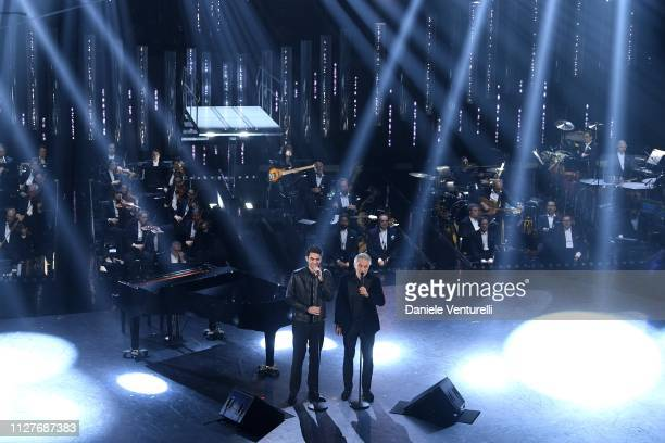 Matteo Bocelli and Andrea Bocelli perform on stage during the first night of the 69th Sanremo Music Festival at Teatro Ariston on February 05 2019 in...