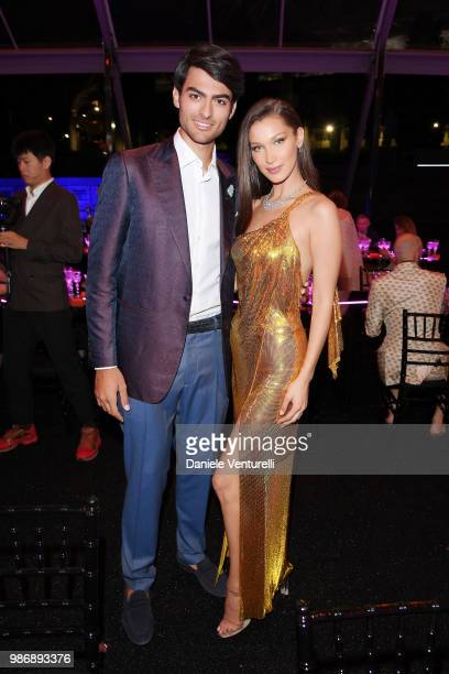 Matteo Bocelli and Bella Hadid attend BVLGARI Dinner Party at Stadio dei Marmi on June 28 2018 in Rome Italy