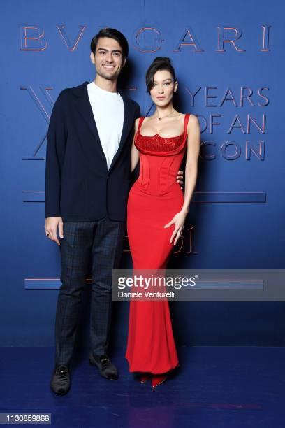 Matteo Bocelli and Bella Hadid attend the Bvlgari BZERO1 XX Anniversary Global Launch Event at Auditorium Parco Della Musica on February 19 2019 in...