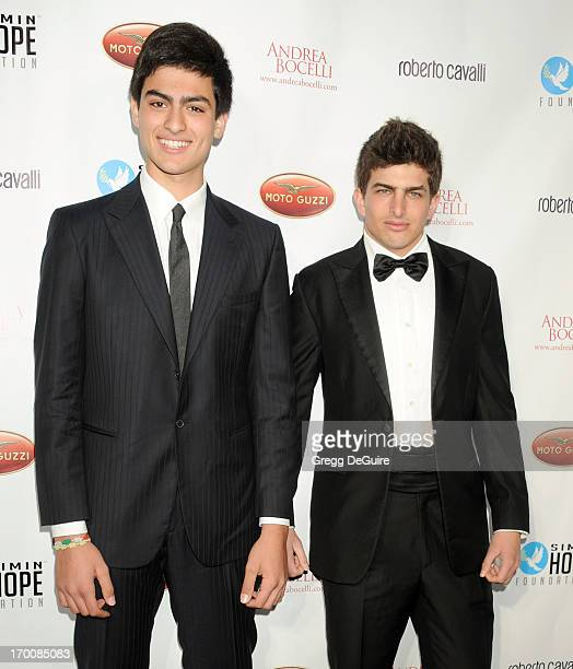 Matteo Bocelli and Edoardo Ferragamo arrive at the Celebration Of All Fathers Gala dinner at Paramount Studios on June 6 2013 in Hollywood California