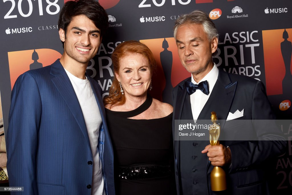 Matteo Bocelli, Sarah, Duchess of York and winner of the Classic BRITs Icon award, Andrea Bocelli pose in the winner room during the 2018 Classic BRIT Awards held at Royal Albert Hall on June 13, 2018 in London, England.