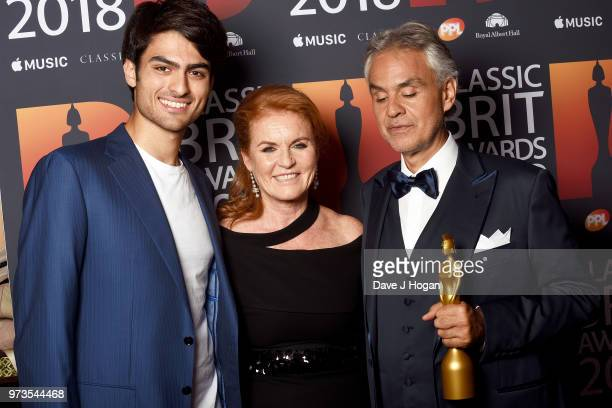 Matteo Bocelli Sarah Duchess of York and winner of the Classic BRITs Icon award Andrea Bocelli pose in the winner room during the 2018 Classic BRIT...