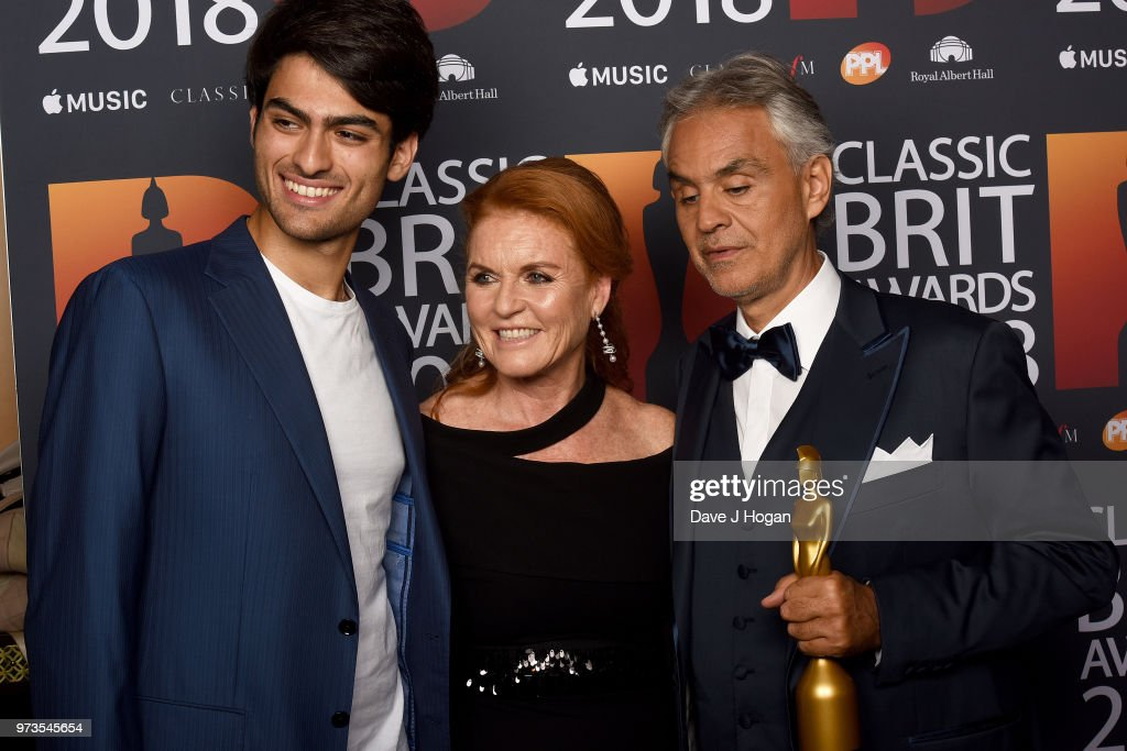 Matteo Bocelli, Sarah, Duchess of York and winner of the Classic BRITs Icon award, Andrea Bocelli pose in the winners room during the 2018 Classic BRIT Awards held at Royal Albert Hall on June 13, 2018 in London, England.