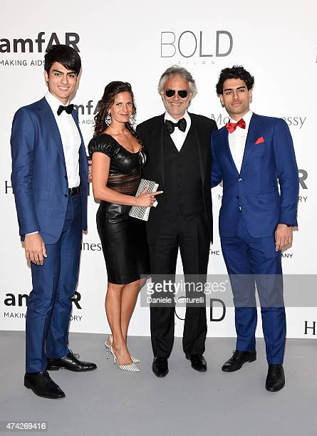 Matteo Bocelli, Singer Andrea Bocelli, Actress Veronica Berti and Amos Bocelli attend amfAR's 22nd Cinema Against AIDS Gala, Presented By Bold Films...