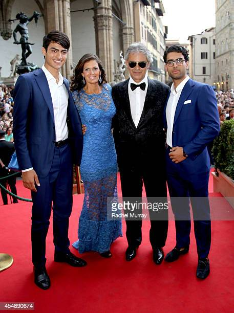 Matteo Bocelli Veronica Berti Andrea Bocel and Amos Bocell attend the Celebrity Fight Night Gala celebrating Celebrity Fight Night In Italy...