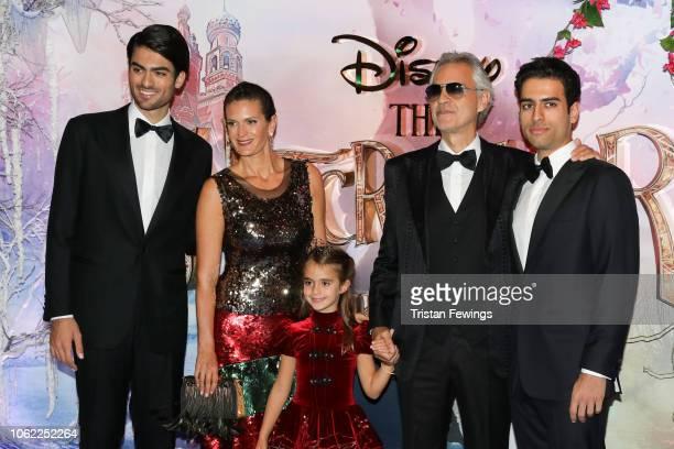 Matteo Bocelli, Veronica Berti, Virginia Bocelli, Andrea Bocelli and Amos Bocelli attend the European Premiere of Disney's 'The Nutcracker' at Vue...