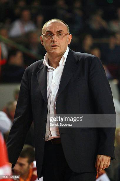 Matteo Boniciolli Head Coach of Virtus Roma looks on during Turkish Airlines Euroleague Date 2 between Spirou Charleroi vs Virtus Roma at Spiroudome...