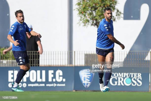 Matteo Brighi and Domenico Maietta of Empoli FC in action during training session on September 18 2018 in Empoli Italy