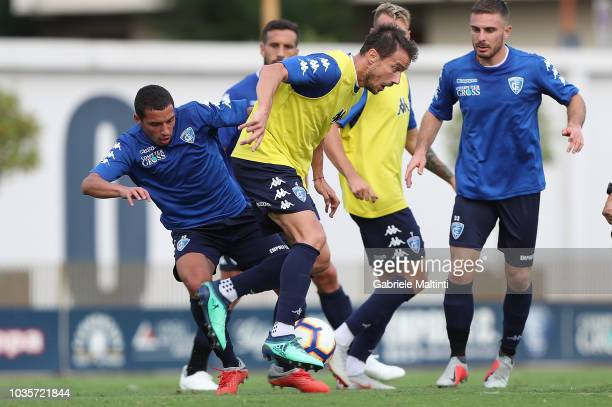 Matteo Brighi and Ismael Bennacer of Empoli FC in action during training session on September 18 2018 in Empoli Italy