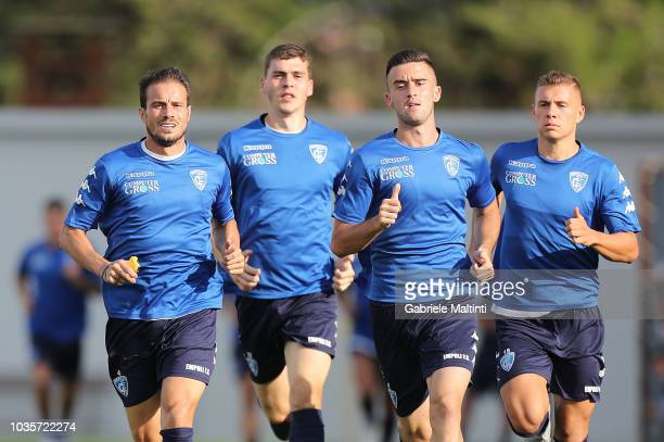 Matteo Brighi Jakob Rasmussen Arnel Jakupovic and Samuel Mraz of Empoli FC in action during training session on September 18 2018 in Empoli Italy