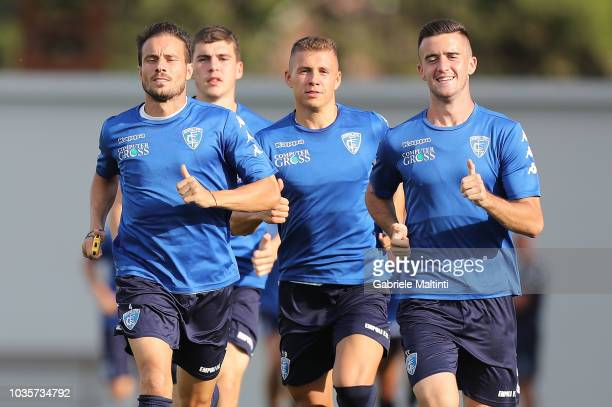 Matteo Brighi Samuel Mraz and Arnel Jakupovic of Empoli FC in action during training session on September 18 2018 in Empoli Italy