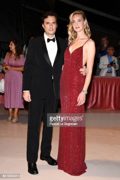 Matteo Ceccarini and Eva Riccobono arrive at the dinner after the Opening Ceremony during the 74th Venice Film Festival at Excelsior Hotel on August...