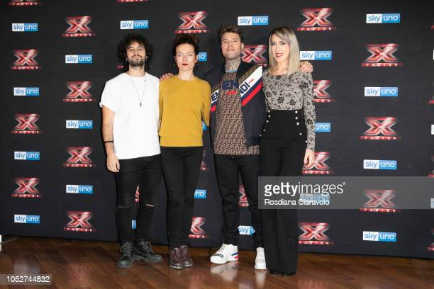 Matteo Costanzo Renza Castelli Fedez and Naomi attend X Factor 2018 photocall at Teatro Linear Ciak on October 22 2018 in Milan Italy