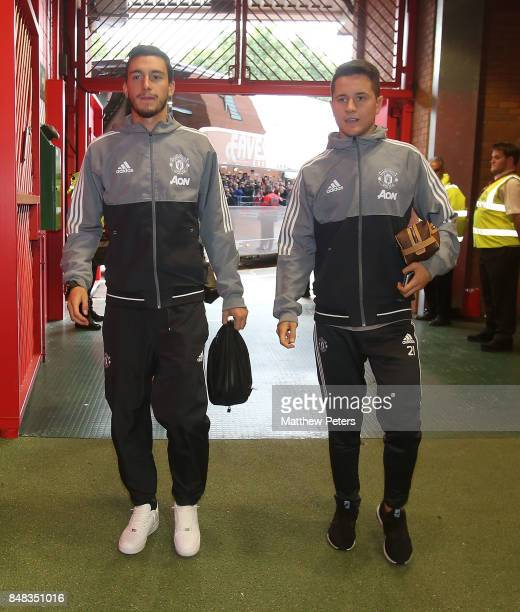 Matteo Darmian and Ander Herrera of Manchester United arrive ahead of the Premier League match between Manchester United and Everton at Old Trafford...