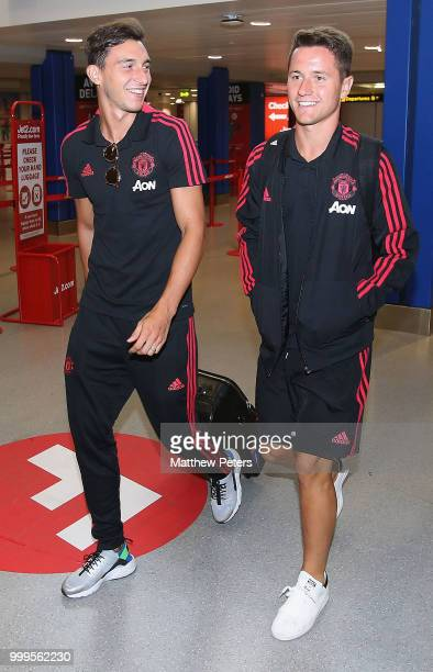 Matteo Darmian and Ander Herrera of Manchester United depart for the club's preseason tour of the USA at Manchester Airport on July 15 2018 in...