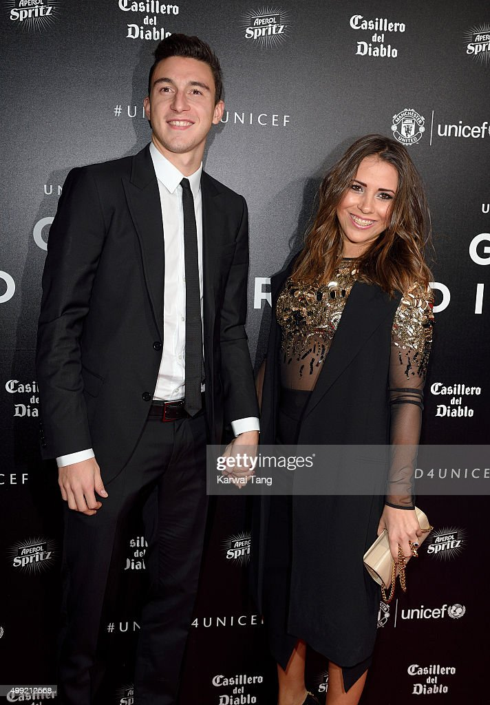Matteo Darmian and Francesca Cormanni attend the United for UNICEF Gala Dinner at Old Trafford on November 29, 2015 in Manchester, England.