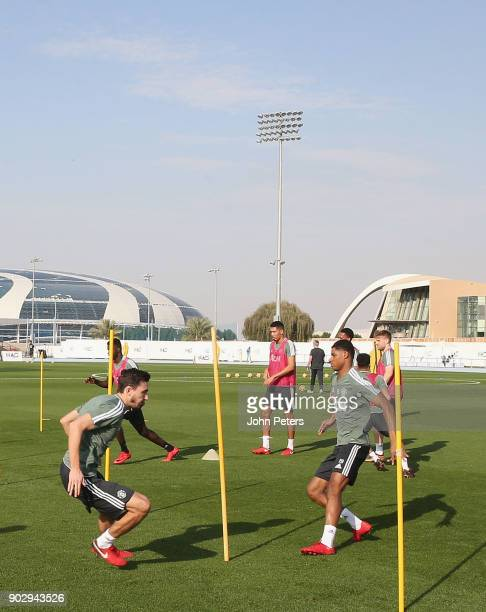 Matteo Darmian and Marcus Rashford of Manchester United in action during a first team training session at Nad Sheba Sports Complex on January 9 2018...