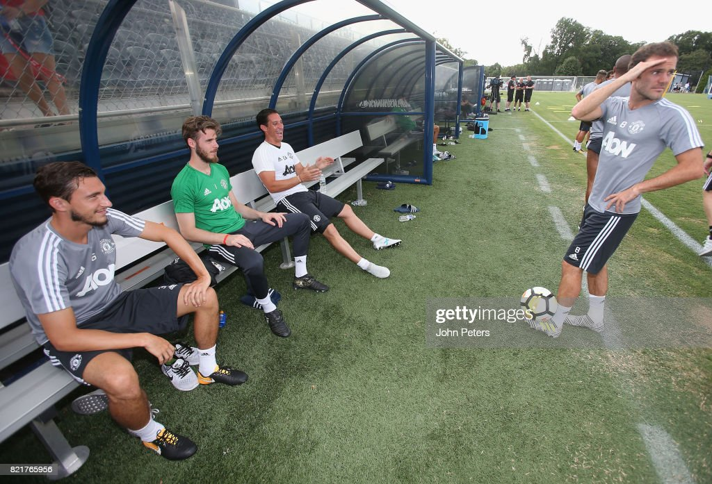 Matteo Darmian, David de Gea, Coach Emilio Alvarez and Juan Mata of Manchester United in action during a first team training session as part of their pre-season tour of the USA at Shaw Field on July 24, 2017 in Washington, DC.