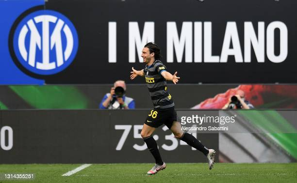 Matteo Darmian of FC Internazionale celebrates after scoring the opening goal during the Serie A match between FC Internazionale and Hellas Verona FC...