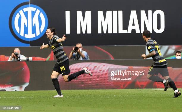 Matteo Darmian of FC Internazionale celebrates after scoring their side's first goal during the Serie A match between FC Internazionale and Hellas...