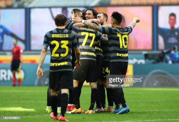 Matteo Darmian of FC Internazionale celebrates with teammates after scoring their team's second goal during the Serie A match between FC...